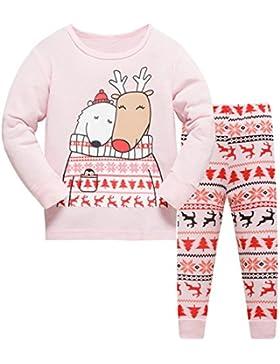 Tkiames Jungen Mädchen Rentier Langarm Schlafanzug Kinder Pyjamas Sets Kleidung Set Weihnachten Baumwolle Kleinkind...