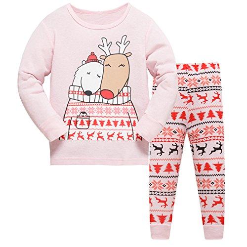 Kinder-weihnachts-pyjamas (Tkiames Jungen Mädchen Rentier Langarm Schlafanzug Kinder Pyjamas Sets Kleidung Set Weihnachten Baumwolle Kleinkind Pjs Nachtwäsche)
