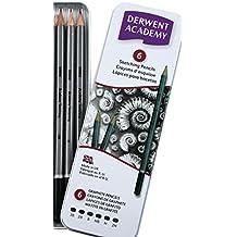 Derwent Academy Sketching Pencils Tin, 3B-2H - Set of 6