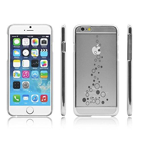 iProtect Schutzhülle Apple iPhone 6, 6s (4,7'') Hülle Totenkopf Skull Star Design in schwarz Silber Bubble