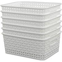 Sandmovie Plastique Blanc Panier Paniers Rangement Plastique Rectangulaire, 6-Pack