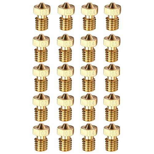 Arceli 20pcs m6 3.0mm stampante 3d 0.2mm 0.3mm 0.4mm 0.5mm estrusore ottone ugello testina di stampa per e3d makerbot (5 pz/ogni dimensione)