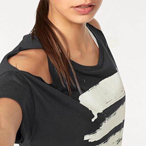 Camicia Donna Rcool Casual Sexy chiffon Camicetta Maglietta Maglia pullover Top T shirt Nero