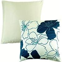 Riempito botanico fiore floreale foglia verde acqua crema morbido in finta seta ricamato cuscino 43,2cm-43cm