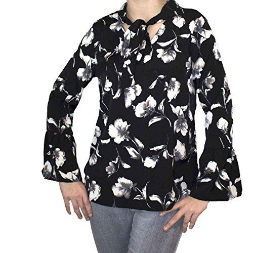 Chemisier femme noir motif fleur blanche col lavalliere & manches a volants- Noir