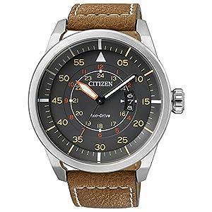 Citizen AW1360-12H - Reloj de cuarzo para hombre, con correa de cuero, color marrón de Citizen