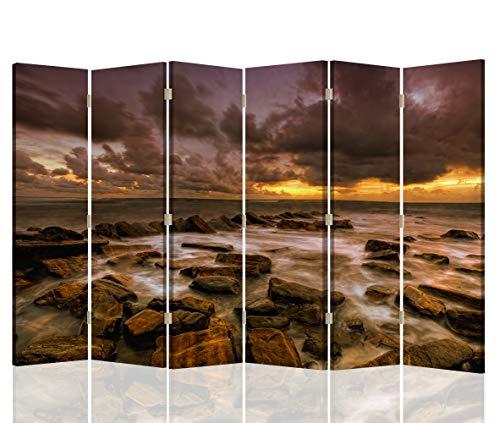 Feeby Pared divisoria Paisaje 6 Paneles Unilateral Rocas Mar Agua Marrón 216x175 cm