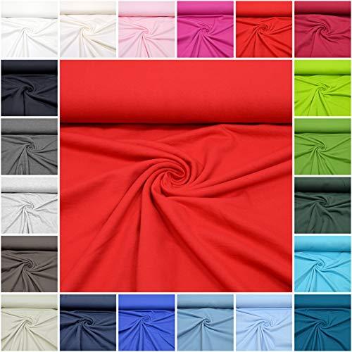 MAGAM-Stoffe ''Ben'' Sweat-Stoff Uni   20 Farben   Innen Angeraut und weich Öko-Tex Qualität   Meterware ab 50cm (05. Rot)