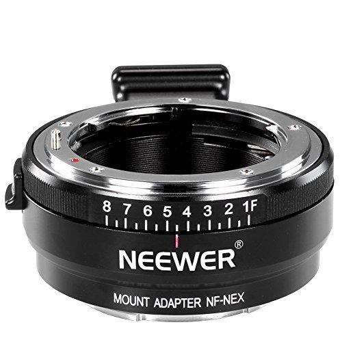 Neewer® Manueller Fokus-Objektiv-Mount-Adapter mit Aperture Dial für Nikon G, F, AI, S, D-Objektive bis Sony E-Montage Nex-Kameras A7, A7S, A7R, A7II, A6000, NEX-3, NEX-5, NEX-5N, NEX-7, NEX-7 N, NEX-C3, NEX-VG10, VG20, FS-700