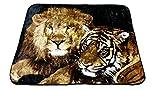YSN Home Collection 2265 - Single Wolldecke Decke Kuscheldecke Tagesdecke Löwe und Tiger - 160x200 cm weich warm kuschelig LIEBE Love