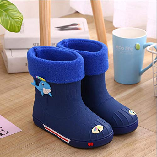 HRFHLHY Non-slip padded warm boys and girls rain boots Cute baby water shoes Dolphin cartoon children