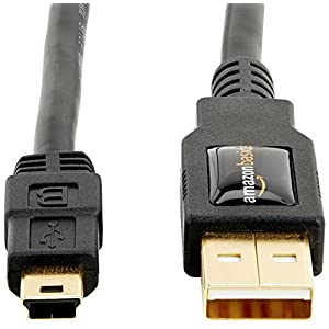 AmazonBasics USB 2.0 Cable - A-Male to Mini-B - 3 Feet (0.9 Meters),Black