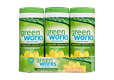 Green Works Compostable Cleaning Wipes Value Pack, Original, 90 Count by Greenworks (90 Value Pack)