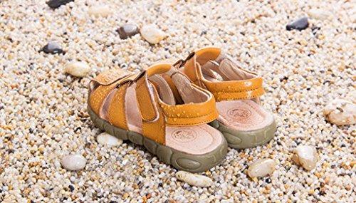 Evedaily Sandales Chaussures de Marche Mixte Enfant Sandales Souple Bout Fermé En Cuir Jaune