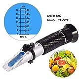 GOCHANGE Réfractomètre 0-32% Brix SG de Sucre pour Tester Liquide Brix comme Jus de Fruits, Vin Rouge, Vin Blanc, Bière, Lait