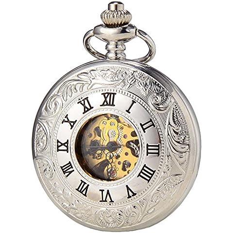 SEWOR-Collana in lega, stile Vintage, con numeri romani, argento-Orologio da taschino da donna con doppia, in confezione regalo