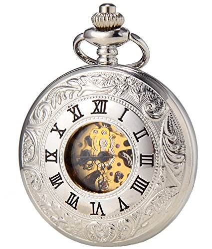 SEWOR Dress Double Open Mechanical Hand Wind Pocket Watch + Band Leather Gift Box (Silver)