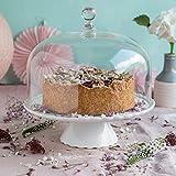 Home of Cake Zauberhaft: Tortenplatte Sweet Flower Medium in Weiß mit Glashaube, Ø 28 cm