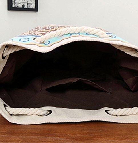 Baymate Damen Vintage Canvas Rucksack Schultasche Lässige Grosse Kapazität Tagesrucksack Stil 5