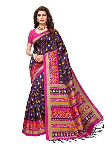 Mrinalika Fashion Women'S Art SIlk Saree With Blouse Piece (Blue&Pink_Free Size)