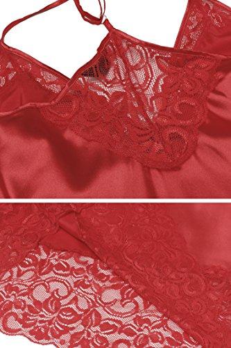 Keland Damen softes Negligé Nachtkleid Nachthemd mit Spitzenbesatz, verstellbaren Trägern und Unterbrustnaht Rot