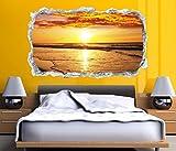 3D Wandtattoo Durchbruch Sonnenuntergang Meer Wasser Ozean Strand Wand Aufkleber Wanddurchbruch sticker selbstklebend Wandbild Wandsticker Wohnzimmer 11O2326, Wandbild Größe F:ca. 140cmx82cm
