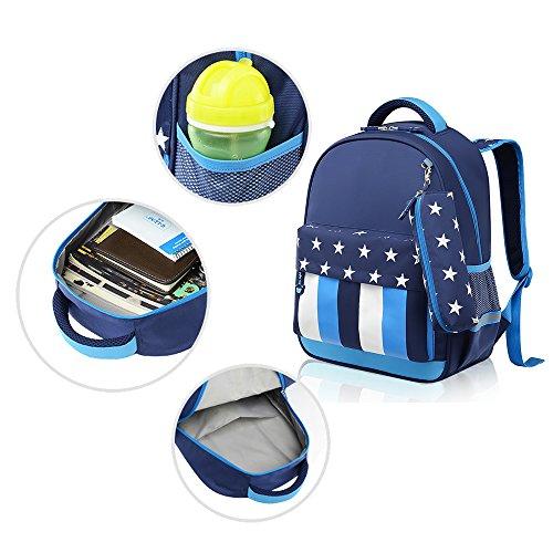 KINDOYO Wasserdichter Rucksack für Kinder Unisex Schultaschen Jungen Mädchen für Reisen, Wandern, Sport Tiefblau / Hellblau