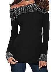 LAEMILIA Femme T-shirt Casual Sexy Epaule Nue Manches Longues Hauts Blouse Tops Slim Fit