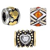 Beads Charms Elements für Armband Edelstahl Perle bettel Charms Bead Silber Original Swarovski Strass steine Kompatibel mit Pand viele modele und farben 3er Angebot Set bicolor - Akki BC 01