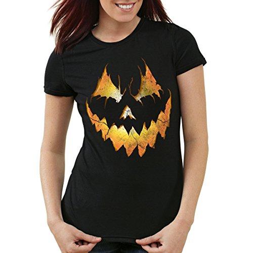style3 Halloween Kürbiskopf Damen T-Shirt, Farbe:Schwarz, Größe:2XL