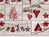 ab 1m: Dekostoff, Weihnachtsstoff, Patch, Herzen, grau-rot,