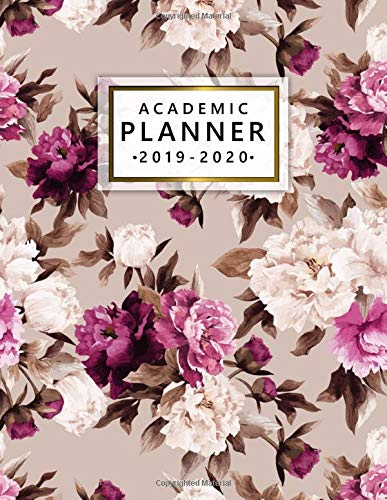 Academic Planner 2019-2020: Weekly Monthly Academic Planner Calendar Organizer with At A Glance Vision Boards, Notes, Course Schedule, To-do\'s, Inspirational Quotes - Pretty Vintage Flower Pattern