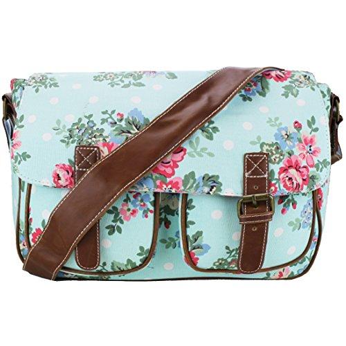 Miss Lulu-Tela cerata con motivo floreale e a pois, in tela a tracolla, per scuola, borsa a mano, Cartella (Flower Blue Canvas)