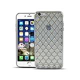 HULI Diamond Case Hülle Graphit für Apple iPhone 6 Plus / 6s Plus Smartphone - Diamant Handyhülle aus TPU Silikon - Silber Luxus Schutzhülle - sicherer Schutz Wabe Kaleidoskop