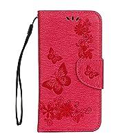 J5 PRO 2017 Case[European Version], COOSTOREEU Butterfly Pattern PU Leather Wallet Stand Flip Case Cover for J5 2017[European Version],Rose pink