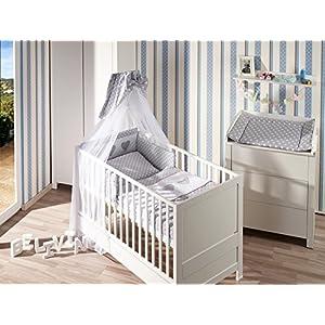 Belivin – Belivin® Babyzimmer Milano Komplettset Baby & Juniorbett + Wickelkommode – 140x70cm, 12 Pinguin hellblau