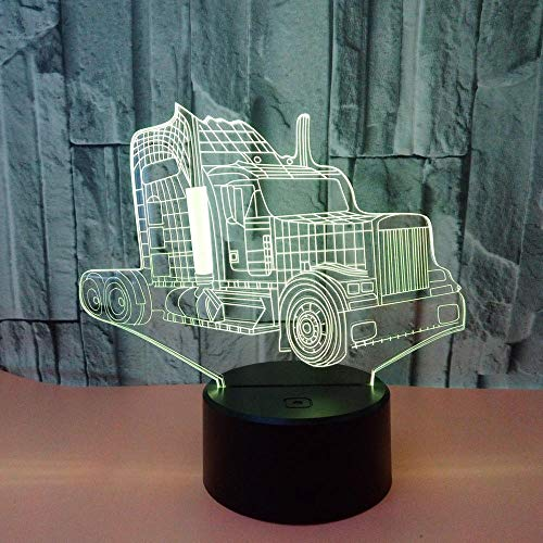 3D Illusion Lamp Nachtlicht Lkw Bunte 3D Led Lampe Visuelle Geschenke Tischlampen Für Wohnzimmer 3D Nachtlicht Dekor Kind Schlafzimmer Schreibtischlampe@Remote Control