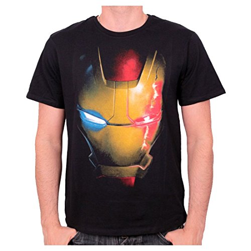 Marvel Comics - Iron Man Herren T-Shirt - Mask (Schwarz) (S-XL) (L)