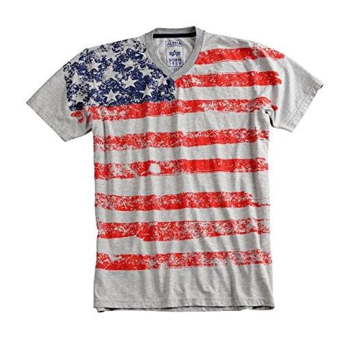 Alpha Industries US T-Shirt USA Shirt (L, grey) (Usaf-flagge)