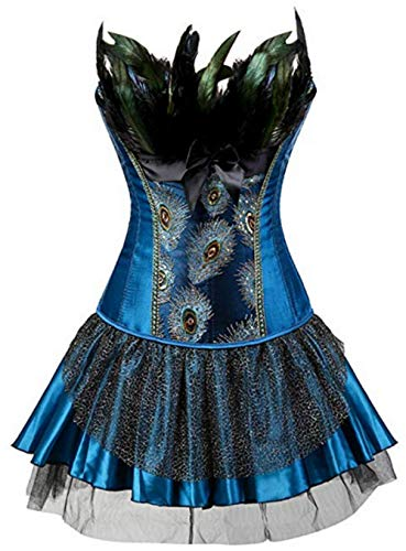 Burlesque Pfau Pattern Korsett Corsage Halloween Karneval Kostüme (EUR(32-34) S, Blau-Blau)