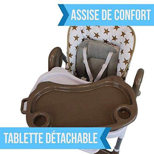 Monsieur Bébé - Chaise haute enfant pliable, réglable hauteur, dossier et tablette - 4 coloris