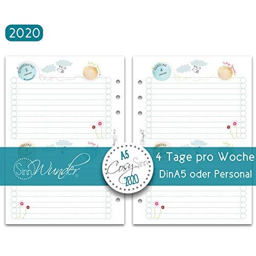 SinnWunder® 2020 Premium-Kalendereinlagen - 2 Tage pro Seite bzw. 4 Seiten pro Woche - CosySinn - Din A5