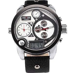 Weide Oversize 3 Time Zone Xxl Army Mens Digital White Dial Quartz Wrist Watch
