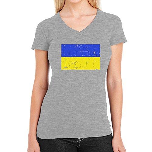 Ukrainische Flagge Fahne Fanshirt Damen T-Shirt V-Ausschnitt Grau