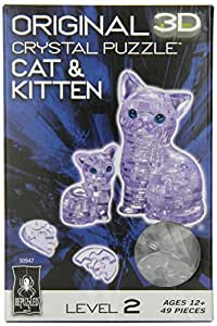 Original 3D Crystal Puzzle - Cat & Kitten Clear by Bepuzzled