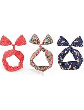 3pcs lazo de alambre de Hairband diadema bufanda pañuelo para la cabeza pelo banda para mujeres niñas