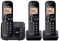 Panasonic KX-TGC223EB Digital Cordless Phone with LCD Display - Black, Pack of 3 from Panasonic