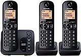 Panasonic KX-TGC223EB Digital Cordless Phone with LCD Display - Black, Pack of 3
