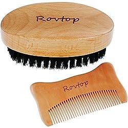 Rovtop Kit Barbe Peigne Barbe Brosse à Poil de Sanglier Naturel Brosse Barbe Poil de Sanglier Baume a Barbe Peigne Entretien Barbe Cheveux Soin Cheveux Kit d'Entretien le Soin de la Barbe de l'homme