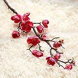 Tangbasi 1ramo di prugna fiore artificiale fiori finti Home wedding Decor Rose Red
